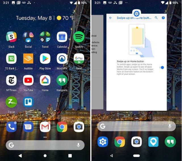 Обзор Android 9 Pie - навигация